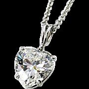GIA 2.14ct G VS1 Estate HEART Shaped Solitaire Diamond Platinum Drop Pendant Necklace