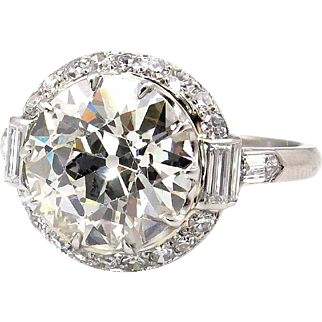 Art Deco Vintage 4.72ct OLD Euro Diamond Platinum Engagement Ring by Bailey, Banks & Biddle