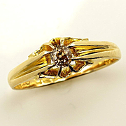 Antique English 1915 Natural FANCY COGNAC Old Mind CUSHION Diamond Solitaire Engagement, Wedding 18k Yellow Gold ring