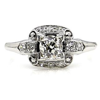 Art Deco Antique Vintage 0.62ct Old European Diamond Engagement Wedding Platinum Ring