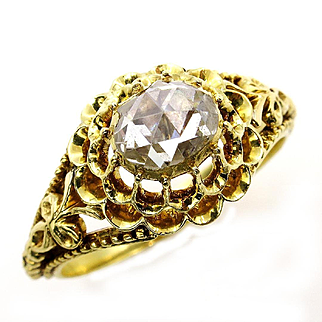 Antique Victorian Old Mine Rose-Cut Solitaire Diamond Engagement Wedding 20k Yellow Gold Ring