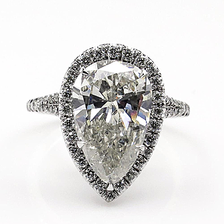 Estate Vintage 4.25ct PEAR Shaped Diamond Engagement Wedding Pave Halo Platinum Ring