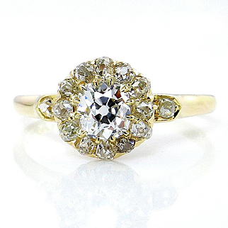 Victorian GIA 1.02ct Old Mine Cushion Diamond Antique Vintage Cluster Wedding Engagement 18k Gold Ring