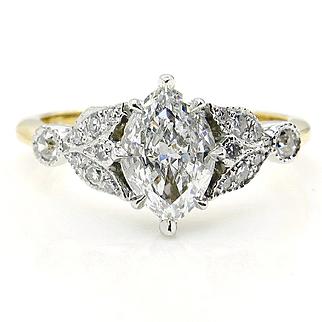 GIA F-VVS1 Vintage 1.07ct Old European Marquise Cut Diamond Engagement 18k Gold Platinum Ring