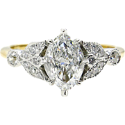 GIA F-VVS1 Vintage 1.07ct Old European Marquise Cut Diamond Engagement 18k Gold Platinum Ring