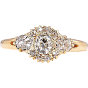 Victorian Antique Vintage 1.0ct Diamond 3 Stone Cluster Wedding Band Engagement 18K Gold Ring