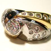 1.60ct Vintage ESTATE Round Cut Diamond Engagement Ring in 2 TONE 14k GOLD
