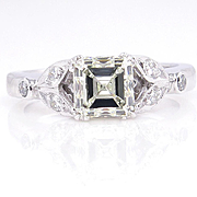 Art Deco GIA 1.23ct Antique Vintage Asscher, Square Emerald Cut Diamond Engagement PLATINUM Ring