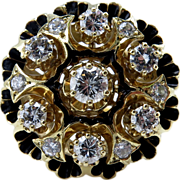 "Vintage ""Revived Victorian"" 1.25ct Diamond Engagement Enamel Flower Cluster Cocktail 14k Yellow Gold Ring"