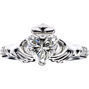 GIA I-VS2 1.25ct Heart Diamond Irish Claddagh Engagement Wedding Platinum Estate Vintage Ring