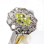 "Vintage ""Canary"" GIA 1.28ct Natural Fancy INTENSE YELLOW Oval Diamond Platinum and 18K Yellow Gold Cluster Ring"