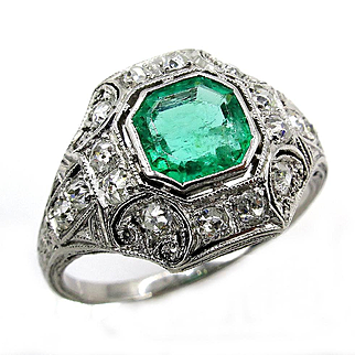 Edwardian Antique Vintage 1.35ct Green Emerald and OLD Euro Diamond Platinum Ring