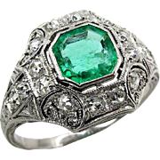 Edwardian Antique Vintage 1.35ct Green Emerald and OLD Euro Diamond Platinum Ring