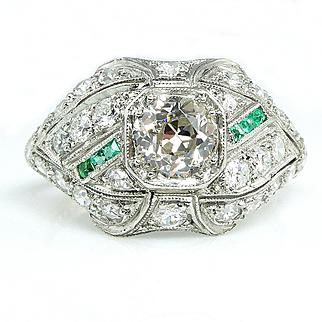 Edwardian Art Deco 1910s, 1.38ct Old European Diamond Engagement Anniversary ring in Platinum