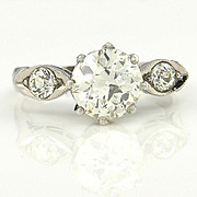 1.39ct Old European Cut Diamond EGL USA Certified In Circa 1920 Art Deco Original Diamond Engagement ring