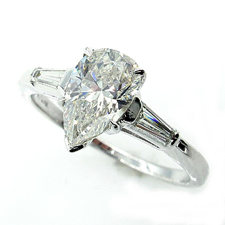 GIA 1.39ct Estate Vintage Solitaire PEAR Shaped and Baguettes Diamond Engagement, Anniversary Platinum Rin