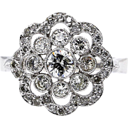 Estate Vintage 1.42ct Round Brilliant Cut Diamond Halo Cluster Snowflake Engagement Platinum Ring