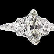 Antique Vintage 1.51ct Old European Marquise Cut Diamond Engagement Platinum Ring