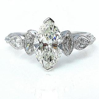 GIA 1.54ct Vintage MARQUISE Cut Diamond ENGAGEMENT Wedding Anniversary Ring 18k