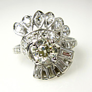Deco/Retro ...1.55ct OLD European Round Cut Diamond Coctail Cluster Engagement, Wedding, Anniversary Ring