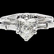 Mid-Century GIA 1.56ctw Estate Vintage HEART Shaped Diamond Engagement Platinum Ring, Wedding Set