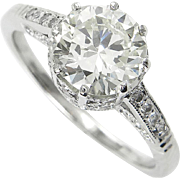 Art Deco 1.58ct Old Transitional Cut Diamond Solitaire Engagement Platinum Ring