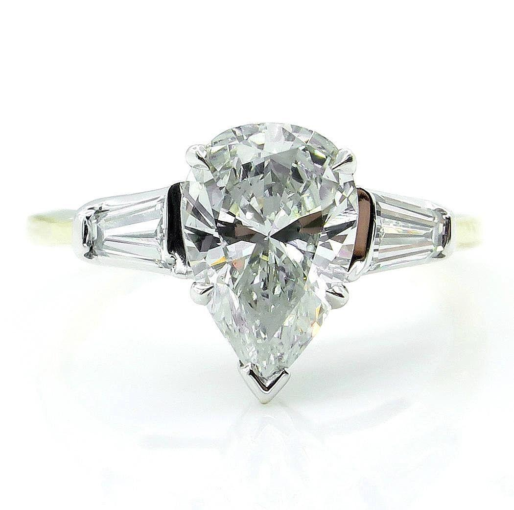 GIA 1.60ct Estate Vintage Solitaire PEAR Shaped Diamond Engagement Platinum 18KYG Ring