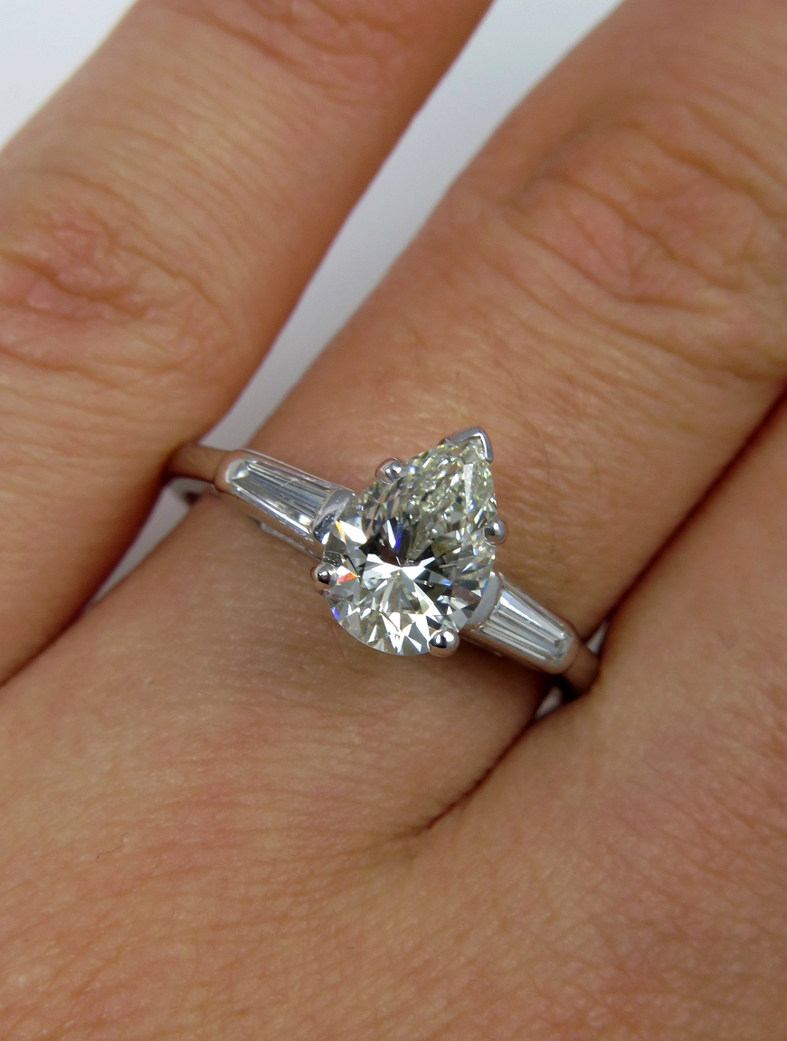 Gia 1 60ct Estate Vintage Solitaire Pear Shaped And