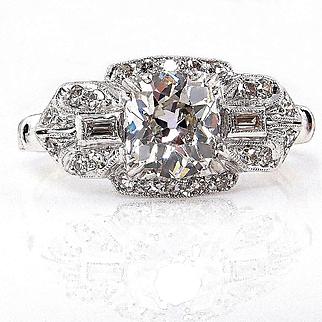 Original Art Deco 1.61ct GIA Old Mine Cushion Cut DIAMOND Engagement Vintage Ring, Circa 1920