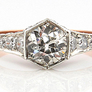 1900 Edwardian Antique 1.62ct Old European cut Diamond Engagement Anniversary Ring