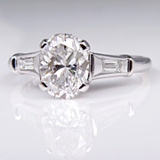 Estate Vintage Colorless GIA 1.64ct Classic OVAL Cut Diamond Engagement Ring in Platinum with Baguettes, Circa 1950s