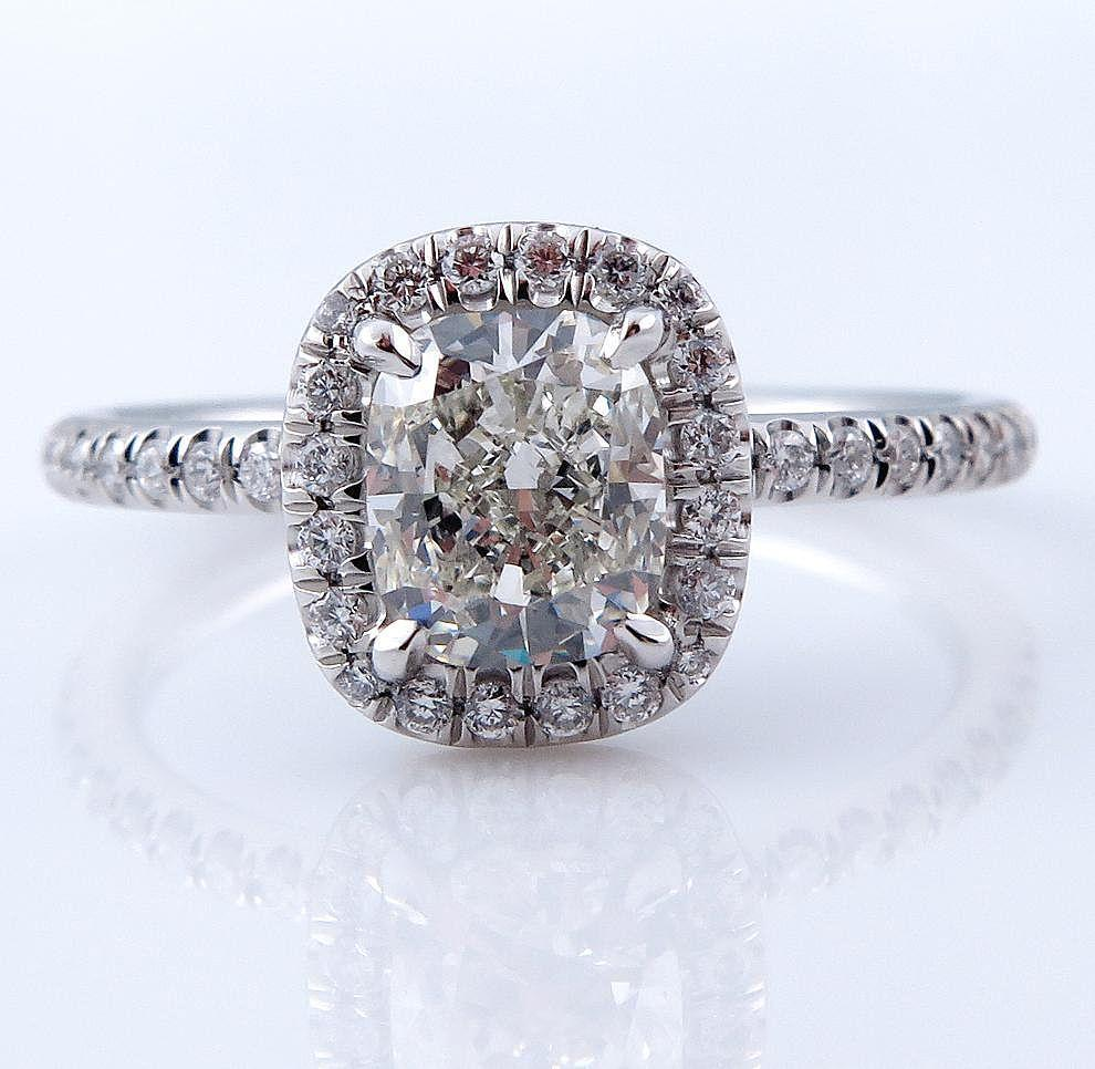Gia 166ct Estate Vintage Cushion Brilliant Cut Diamond Solitaire Engagement  Wedding Platinum Halo Ring