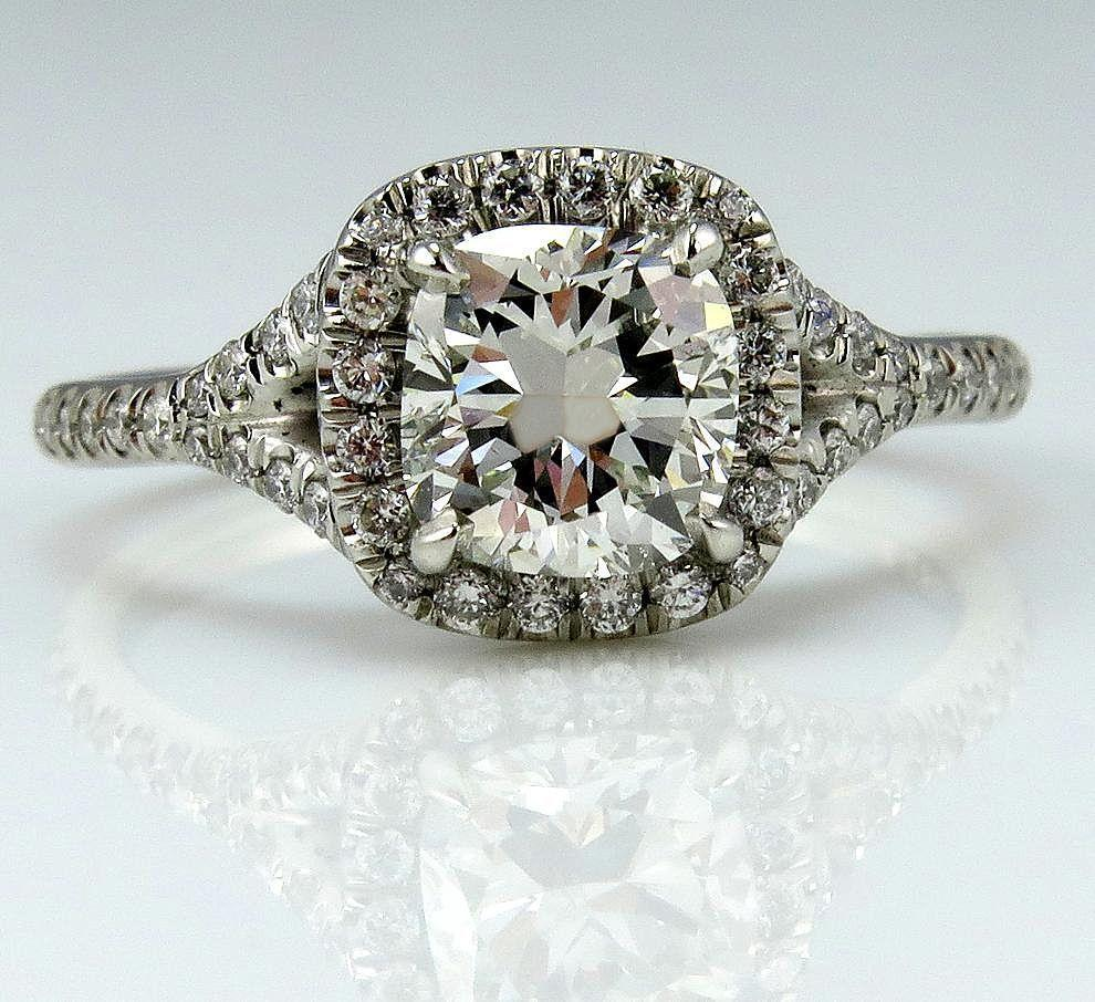Gia 170ct Estate Vintage Cushion Cut Diamond Solitaire Engagement Wedding Diamond  Halo Platinum Ring