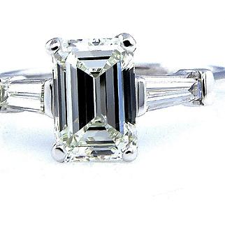 Timeless GIA 1.78ctw Estate Vintage Emerald Cut Diamond Platinum Engagement Wedding Ring