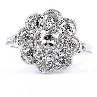 1915 Antique 1.80ctw OLD EUROPEAN Diamond Cocktail Cluster Wedding Engagement Ring 18K