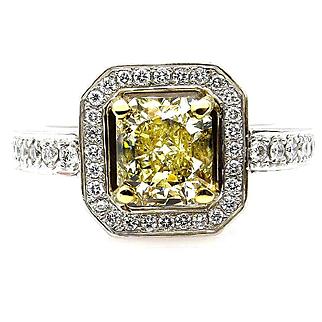 Fine GIA 2.0ctw Estate Vintage Natural Fancy Yellow Radiant Diamond Engagement Wedding 18K Ring