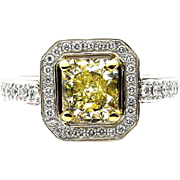 Fine GIA 2.0ctw Estate Vintage Natural Fancy Yellow Radiant Diamond Engagement Wedding 18K Ring