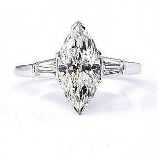 1930..Vintage Estate GIA 1.87ct Classic Marquise Cut Diamond Engagement Platinum Ring