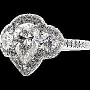 GIA 2.01ct Estate Vintage PEAR Shaped Diamond H-VS2 Three Stone ENGAGEMENT 14k White Ring