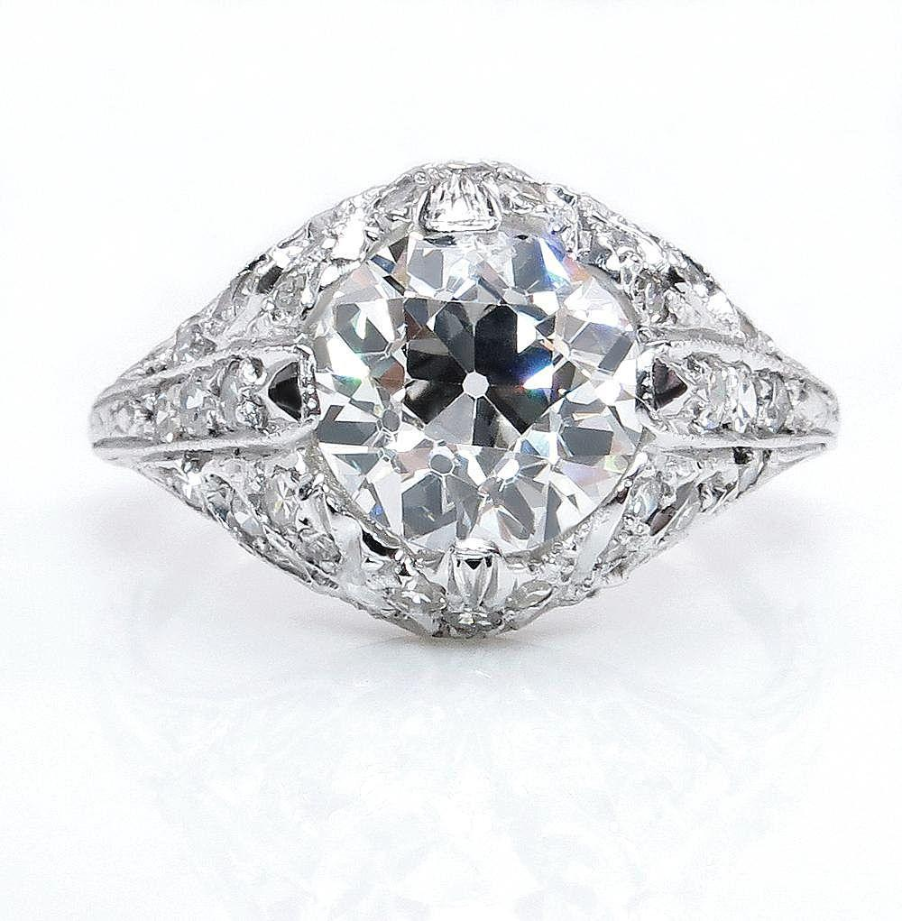 Antique Vintage Edwardian GIA 2.05ct OLD European Diamond Engagement Wedding Platinum Ring