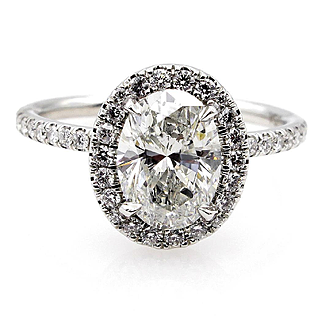 Estate Vintage Colorless GIA 2.05ct OVAL Cut Diamond Engagement Platinum Halo Ring