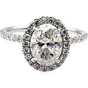 Estate Vintage Colorless GIA 2.05ct OVAL Cut Diamond Engagement Platinum Halo Ring