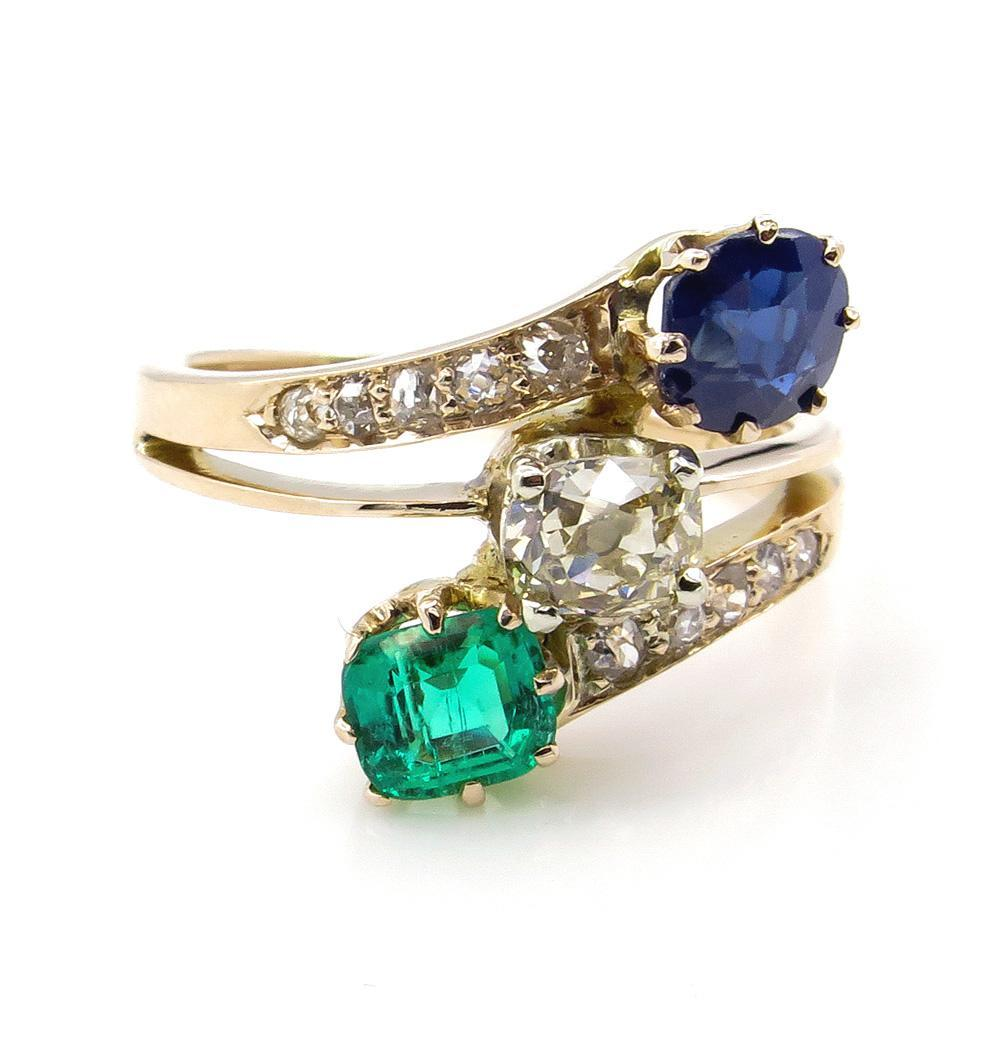2.09ct Victorian Green Emerald, Sapphire and Old Mine DIAMOND Crossover Ring 14K Gold