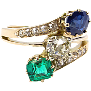 2.09ct Victorian Antique Green Emerald, Sapphire and Old Mine Cushion DIAMOND Crossover Three Stone Ring 14K Gold