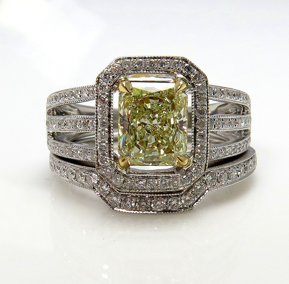 """Estate 2.00ctw Natural Fancy """"Canary"""" YELLOW Radiant Cut Diamond Engagement Ring With Matching Wedding Band, EGL USA"""
