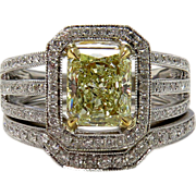 "Estate 2.00ctw Natural Fancy ""Canary"" YELLOW Radiant Cut Diamond Engagement Ring With Matching Wedding Band, EGL USA"