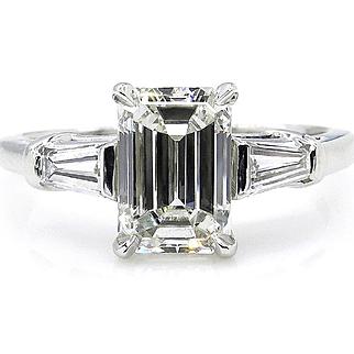GIA Timeless 2.14ctw Estate Vintage Emerald Cut Diamond Platinum Engagement Wedding Ring