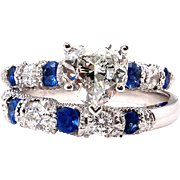 GIA 2.14ct HEART Shaped Diamond and Sapphire Estate Vintage Engagement Ring and Band Bridal Wedding Set