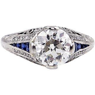 GIA Edwardian 2.19ct Antique Diamond and Calibre Sapphire Platinum Engagement Wedding Ring
