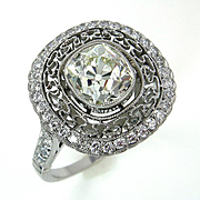 Revived Art Deco 2.22CT Vintage Old Mine Cushion Diamond Platinum Engagement Ring
